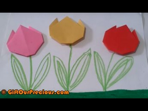 Origami Tulip Flowers Simple And Easy Paper Art Crafts For Kids