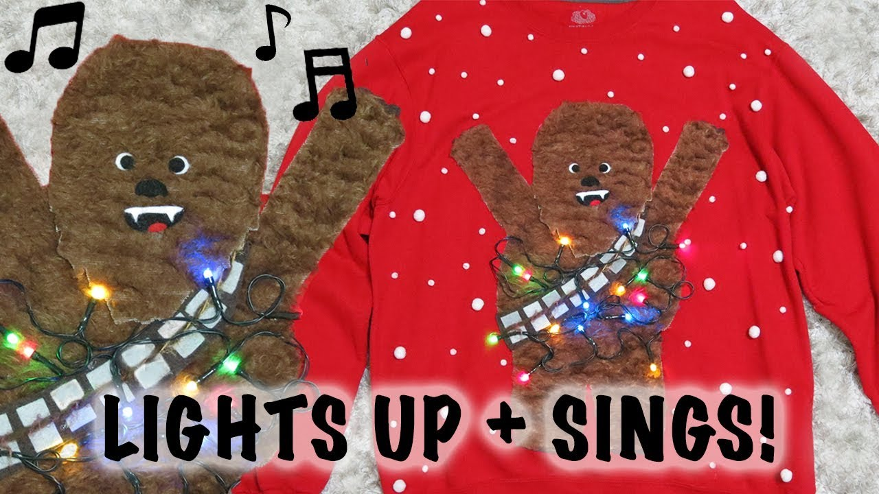 diy chewbacca ugly christmas sweater lights up sings