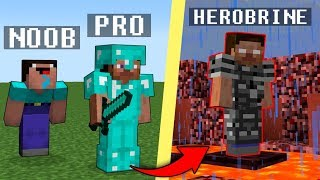 Minecraft Noob vs. Pro vs. Herobrine : scary challenge 2 - funny Minecraft Battle