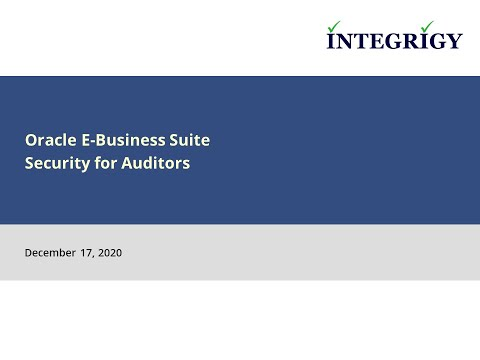 Oracle E Business Suite Security for Auditors