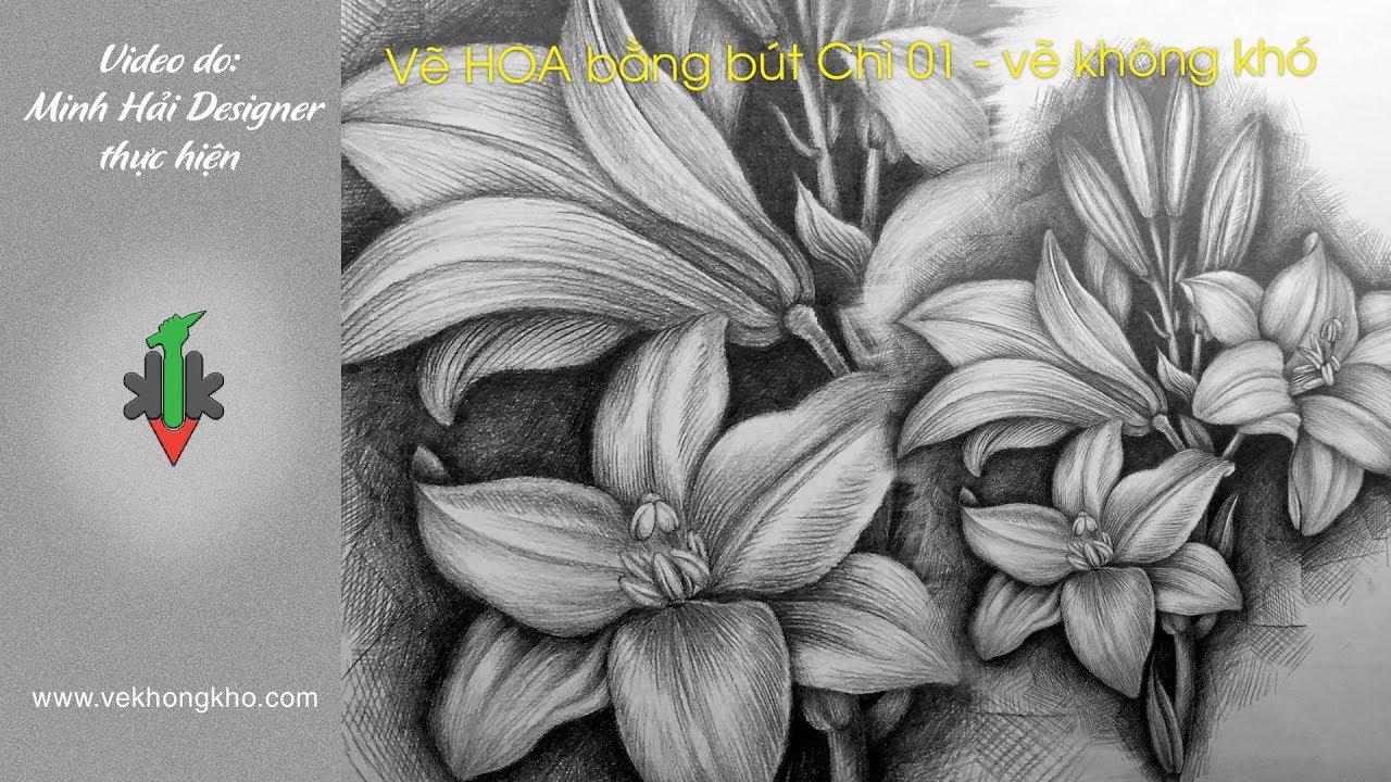Hướng dẫn vẽ hoa bằng bút chì 01 – vẽ không khó
