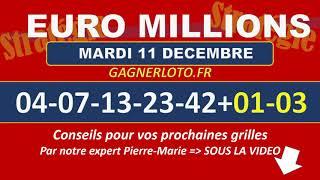 EUROMILLIONS NUMEROS GAGNANTS TIRAGE MARDI 11 DECEMBRE