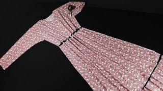 خياطة فستان بإكمام بمترين قماش باأسهل طريقة(للمحجبات)