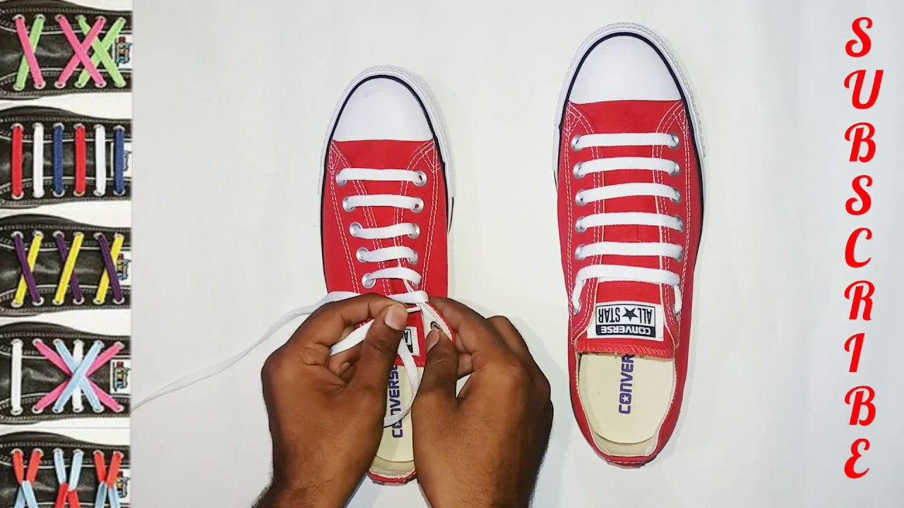fa3c3eb335d2 How to Bar Lace converse CHUCK TAYLORS - YouTube