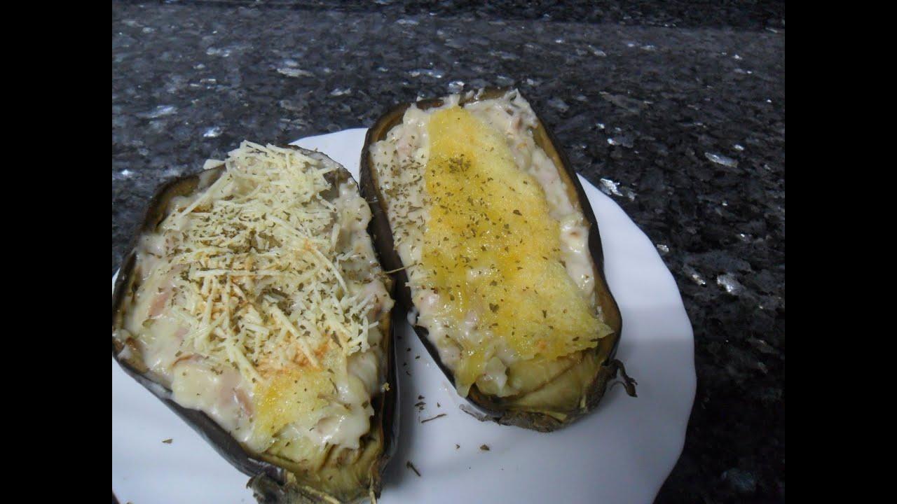 como hacer berenjenas rellenas de jamon y queso al horno