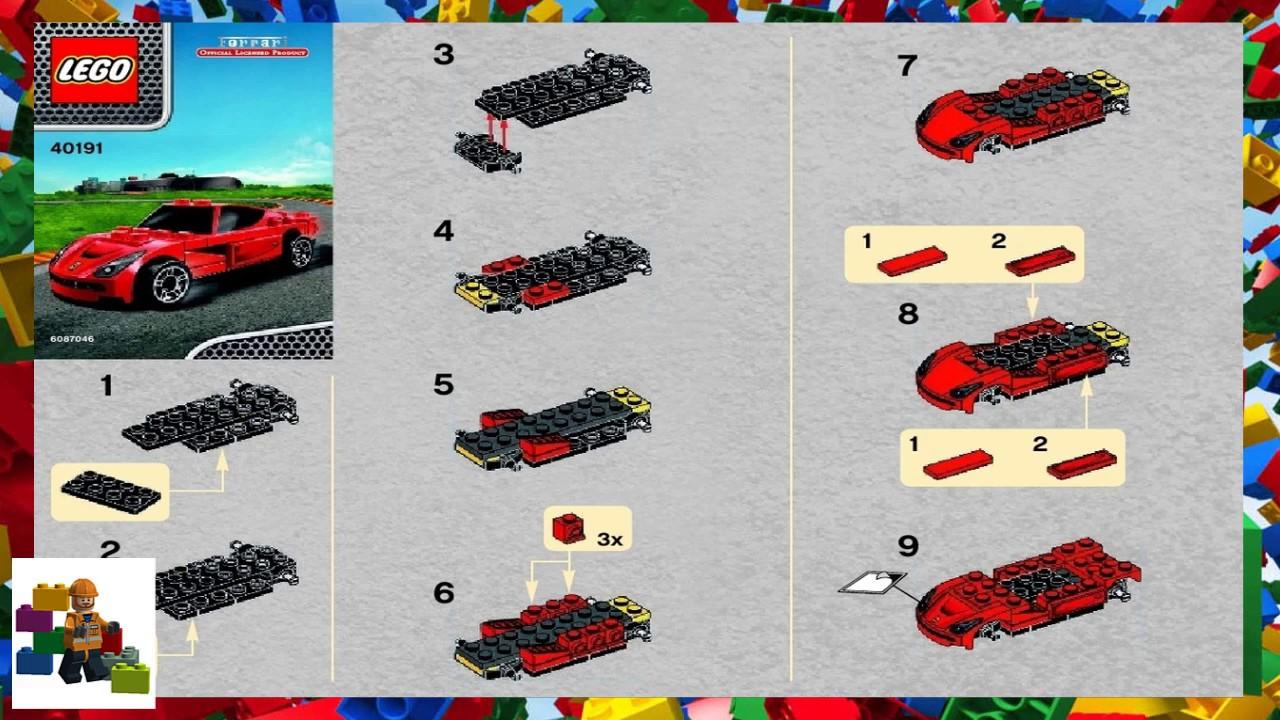 Lego Instructions Promotional 40191 Ferrari F12 Berlinetta Youtube