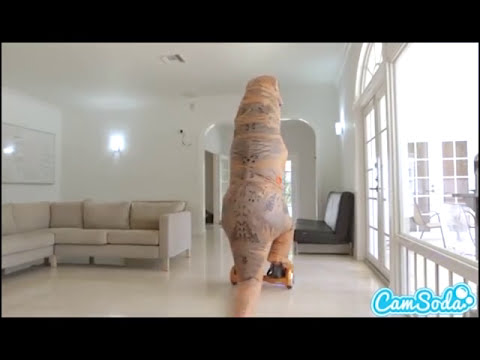 Big ass latina teen chased by lesbian loving trex