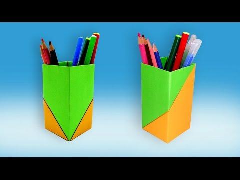 How To Make Paper Pencil Holder (Box) | Origami Pen Stand | Paper Pen Holder DIY Easy Handmade