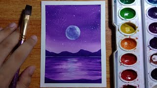 beginners easy painting purple night sky watercolor tutorial
