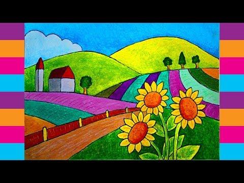 Cara Mewarnai Gambar Pemandangan Dengan Crayon Gambar Pemandangan
