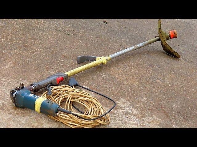 How to make a grass cutter machine by hand grinder