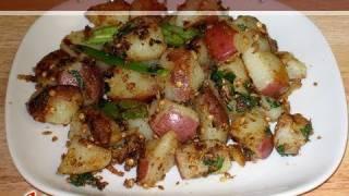 Spicy Potatoes Recipe By Manjula, Indian Vegetarian Cuisine