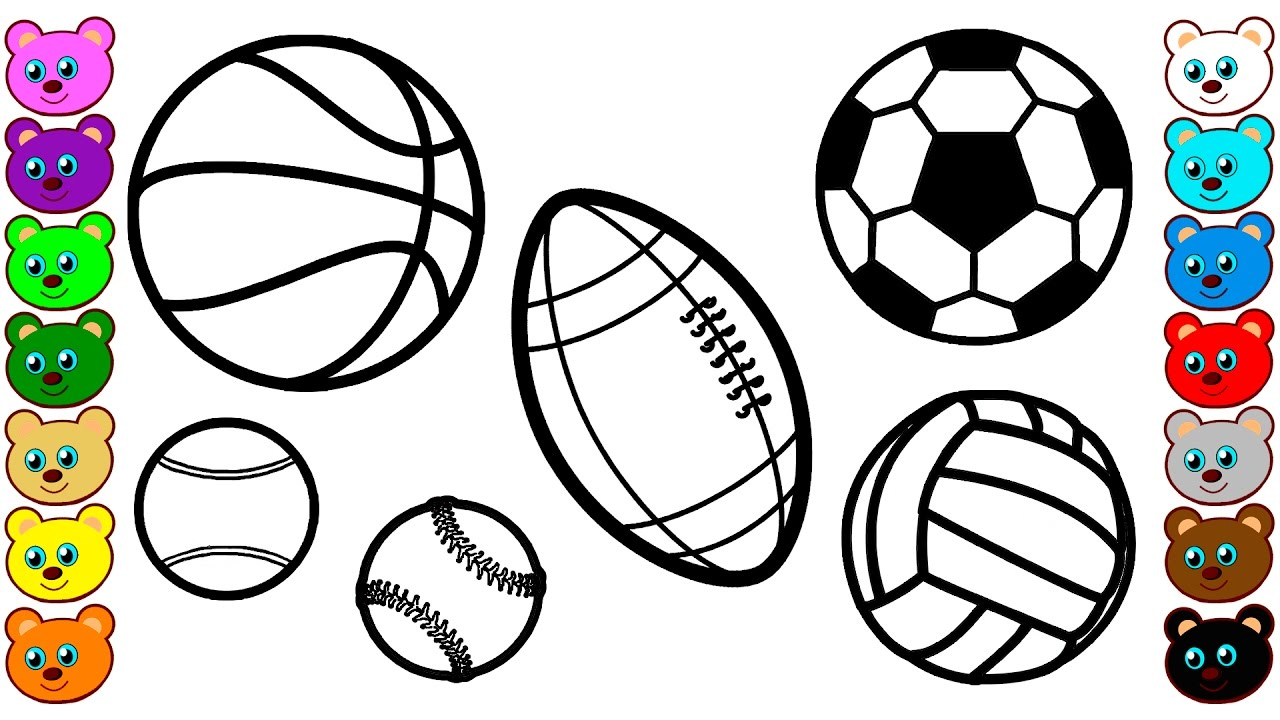learn colors for kids with sport balls coloring pages youtube