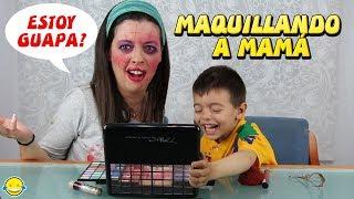 MAKE UP CHALLENGE! RETO MAQUILLANDO A MAMÁ!! Enseño a mi hijo a maquillar. thumbnail