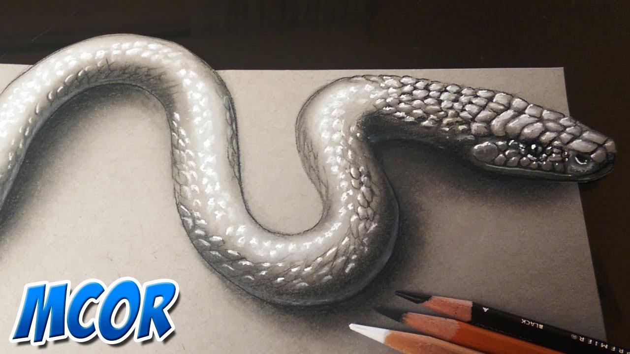 Como Dibujar una Serpiente 3D Realista  YouTube