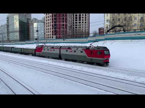 Пассажирские поезда России зимой. Грузовые поезда. Поездка на электричке
