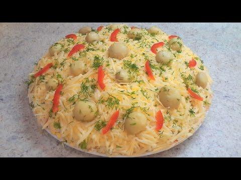 салат из курицы и грибов рецепт пошагово в