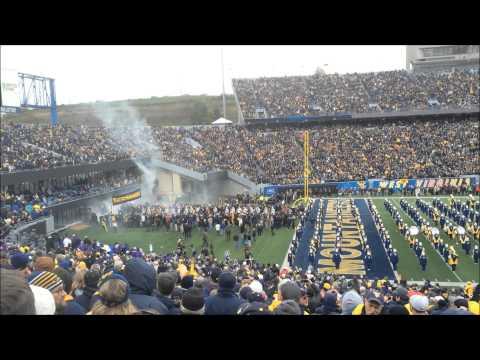 WVU Vs TCU West Virginia Marching Band And Teams Entrance Into Milan Puskar Stadium November 1, 2014