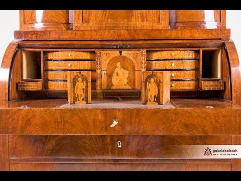 Antiquitäten: Biedermeier Zylinder-Aufsatzsekretär In Mahagoni