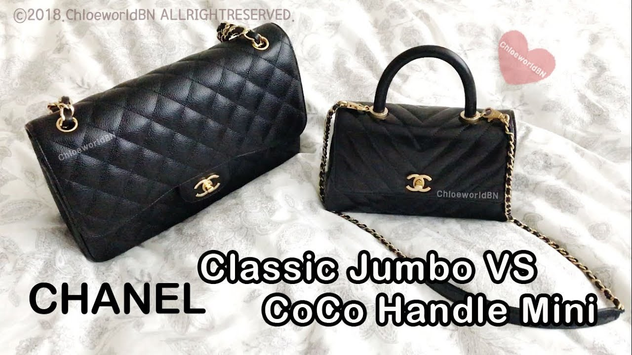 7b0c64c30d75 Part 3 : CHANEL Coco Handle Mini VS Classic Jumbo Flap Bag Comparison, Mod  Shots