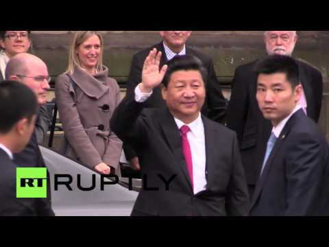 UK: Chinese President Xi Jinping welcomed in Manchester by PM Cameron