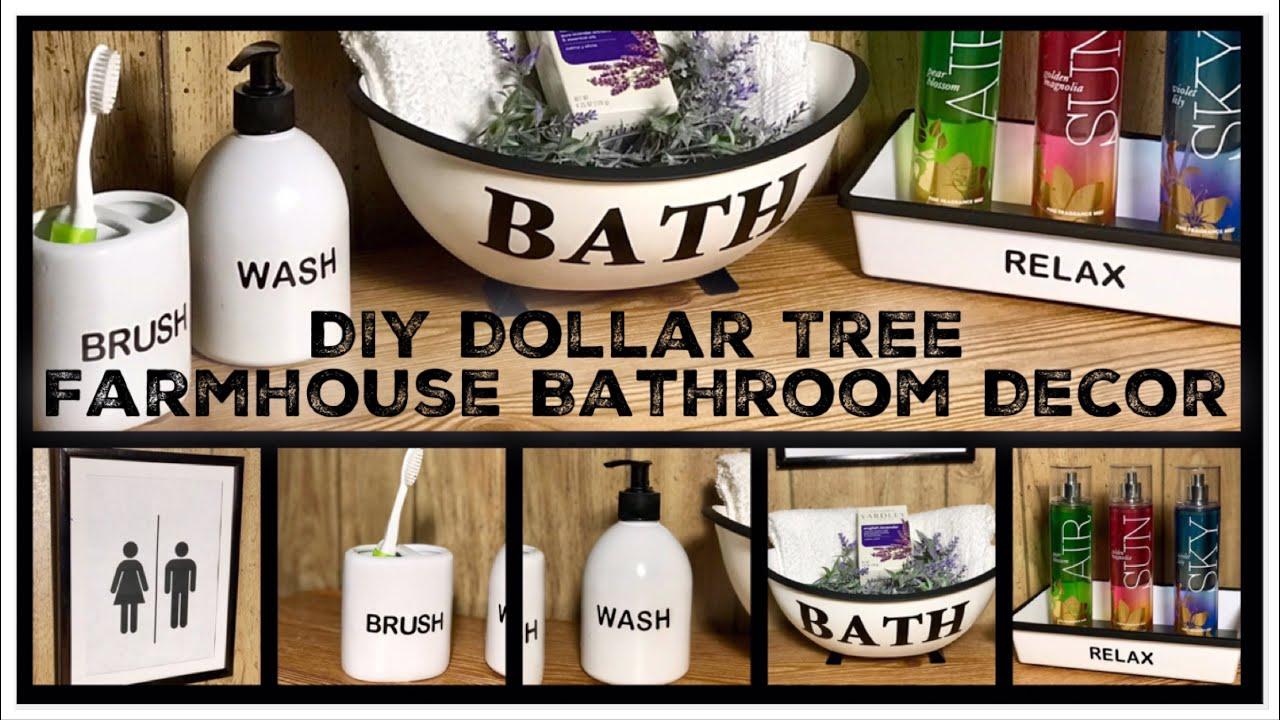 Dollar Tree DIY Farmhouse Bathroom Decor - Enamel Bath Tub ...