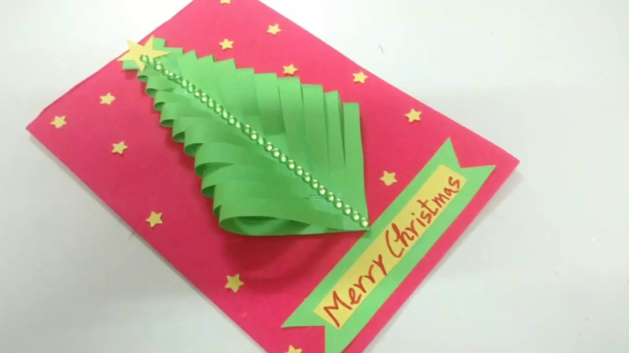 Easy Paper Christmas Tree Card Making Idea | How To | CraftLas - YouTube