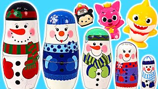 What's in it~? Fun Nesting doll Snowman Unboxing game with BabyShark&Pinkfong! | PinkyPopTOY