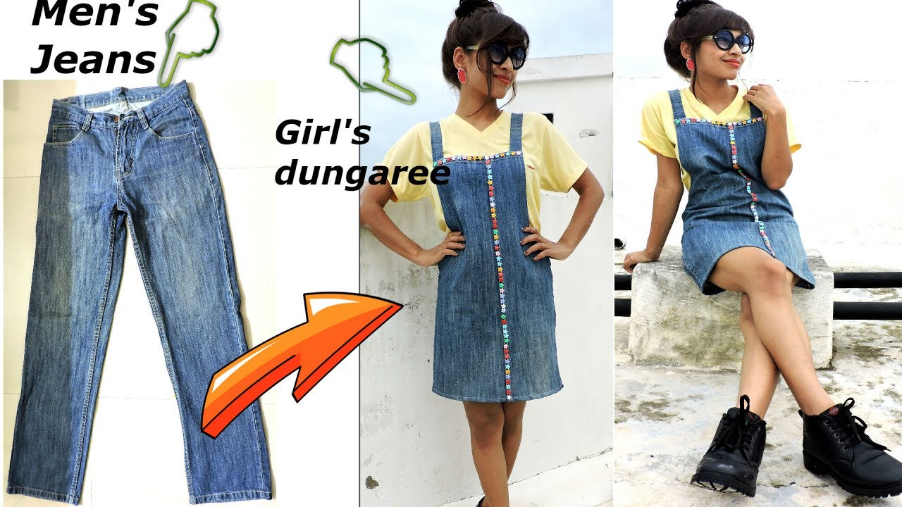 DIY Convert/Reuse old Menu0026#39;s Jeans into girls DUNGAREE ... | Doovi