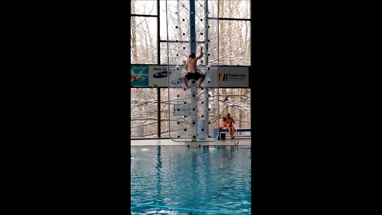 Climbing Wall At Badezentrum Sindelfingen Swimming Pool Youtube