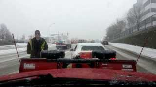 F150 Plow Helps Push Stuck Mustang out of the Snow: Good Deed