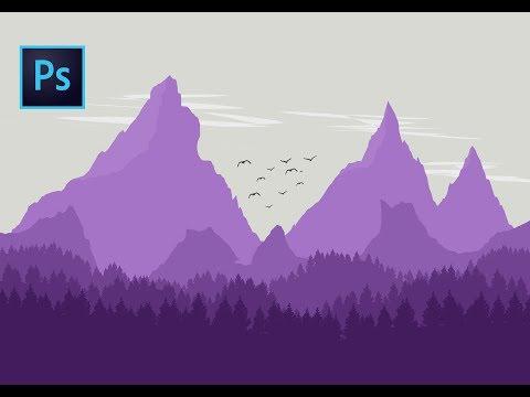 Flat Art Landscape – Adobe Photoshop Speed Art