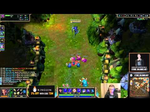 Bjergsen playing Draven in ranked 5's with Aphromoo, Jintae, Santorin
