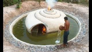 Build Secrete Underground Snail House & Swimming Pool Around House . Full Video