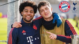 Touch Football: FC Bayern players having fun in training before the match against Tottenham Hotspur