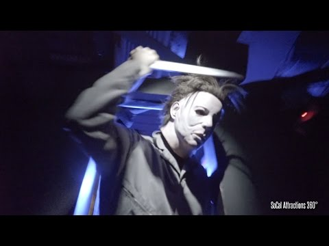 [4K] SCARIEST Halloween Maze Walk-through - A Michael Myers Haunted House - Horror Nights 2015