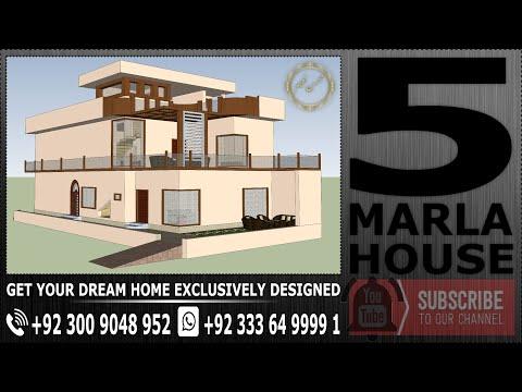 5 Marla House Plan - 3D Model - Floor Plan - Beautiful House