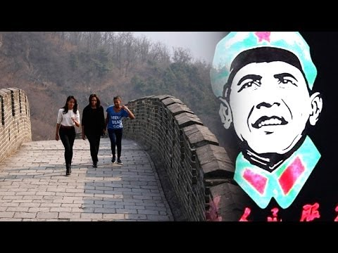 Merchants Hide Obama Mao T-Shirts From Obama Girls On Great Wall Of China