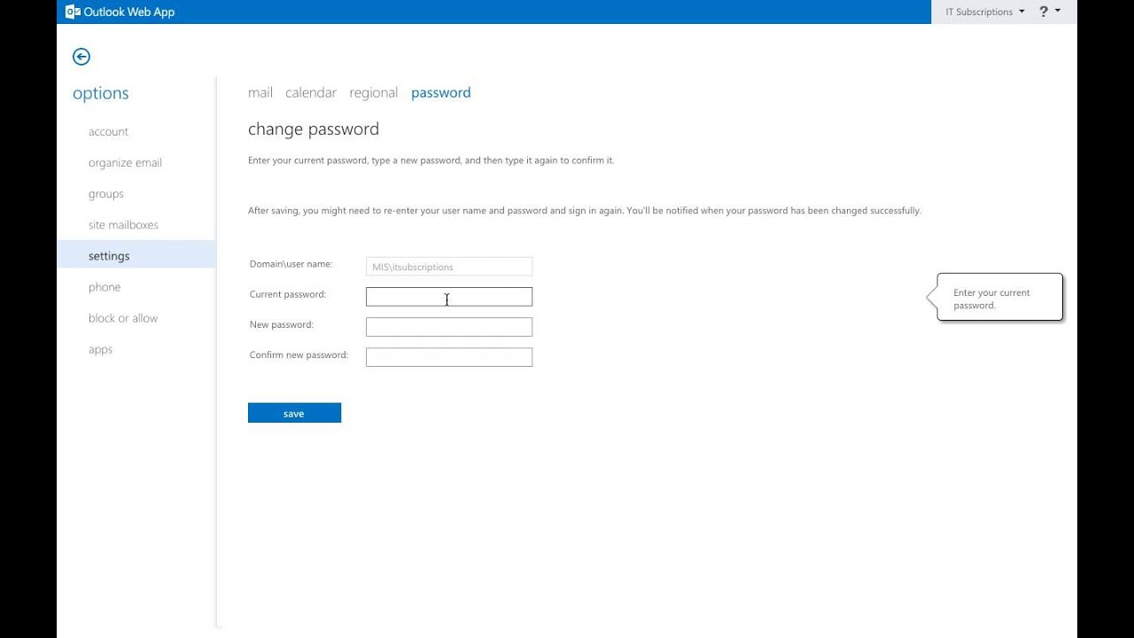 Change Your Password Through The Outlook Web App Email Account