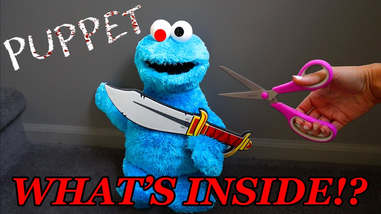 Cutting Open Roblox Puppet Cookie Monster in Real Life! What's Inside??