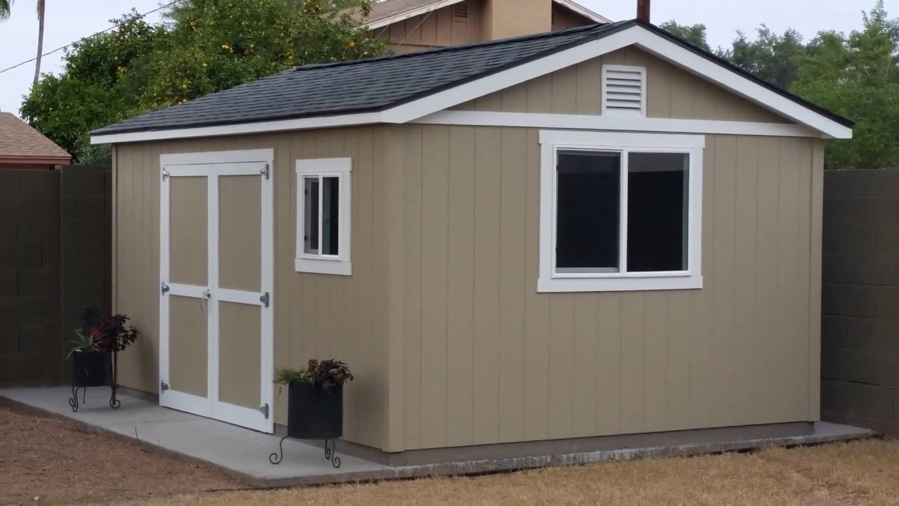 Tuff shed motorcycle work shop build part 1 youtube for Tough shed sale