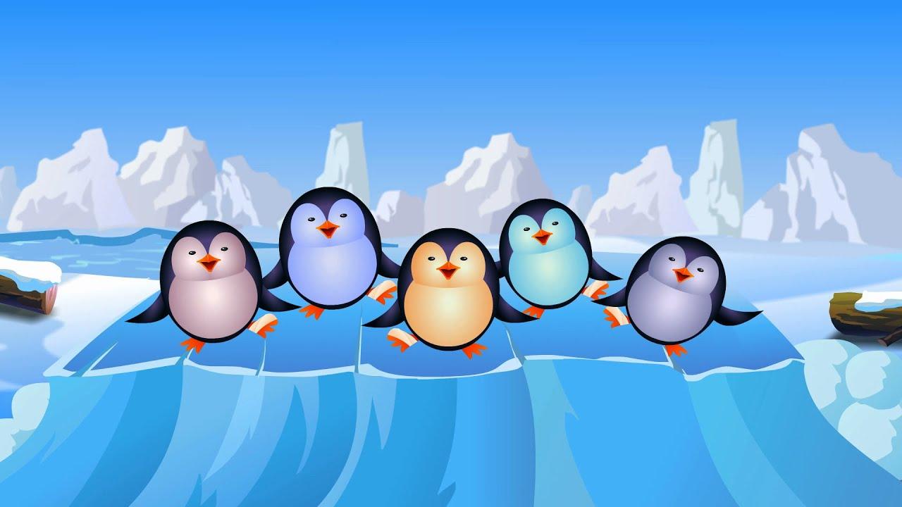 Cinco peque os ping inos nursery compilaci n rima para - Para ninos infantiles ...