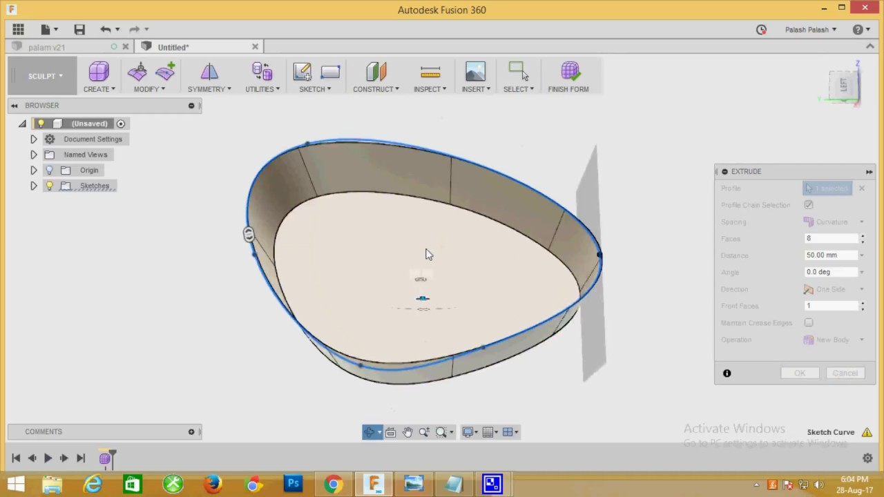 How to T-Spline form a Extrude Object in Fusion 360