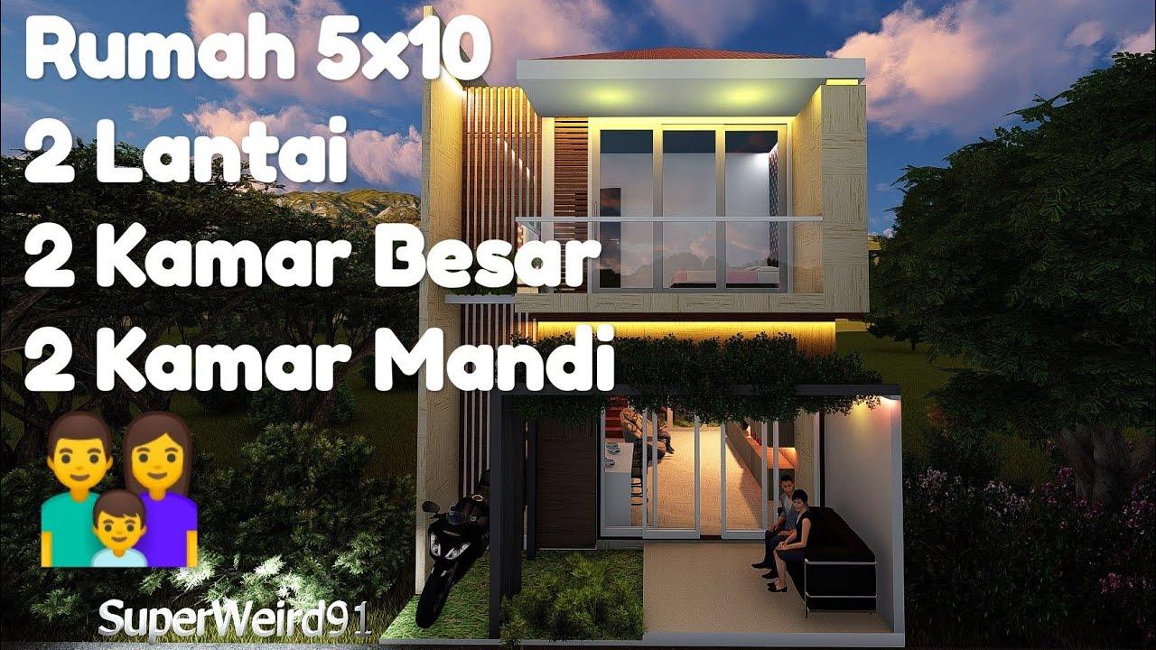 Desain Rumah Kecil 5x10 Modern Minimalis 2 Lantai 2 Kamar