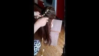 Урок по плетению косы из 4 прядей (с лентой)