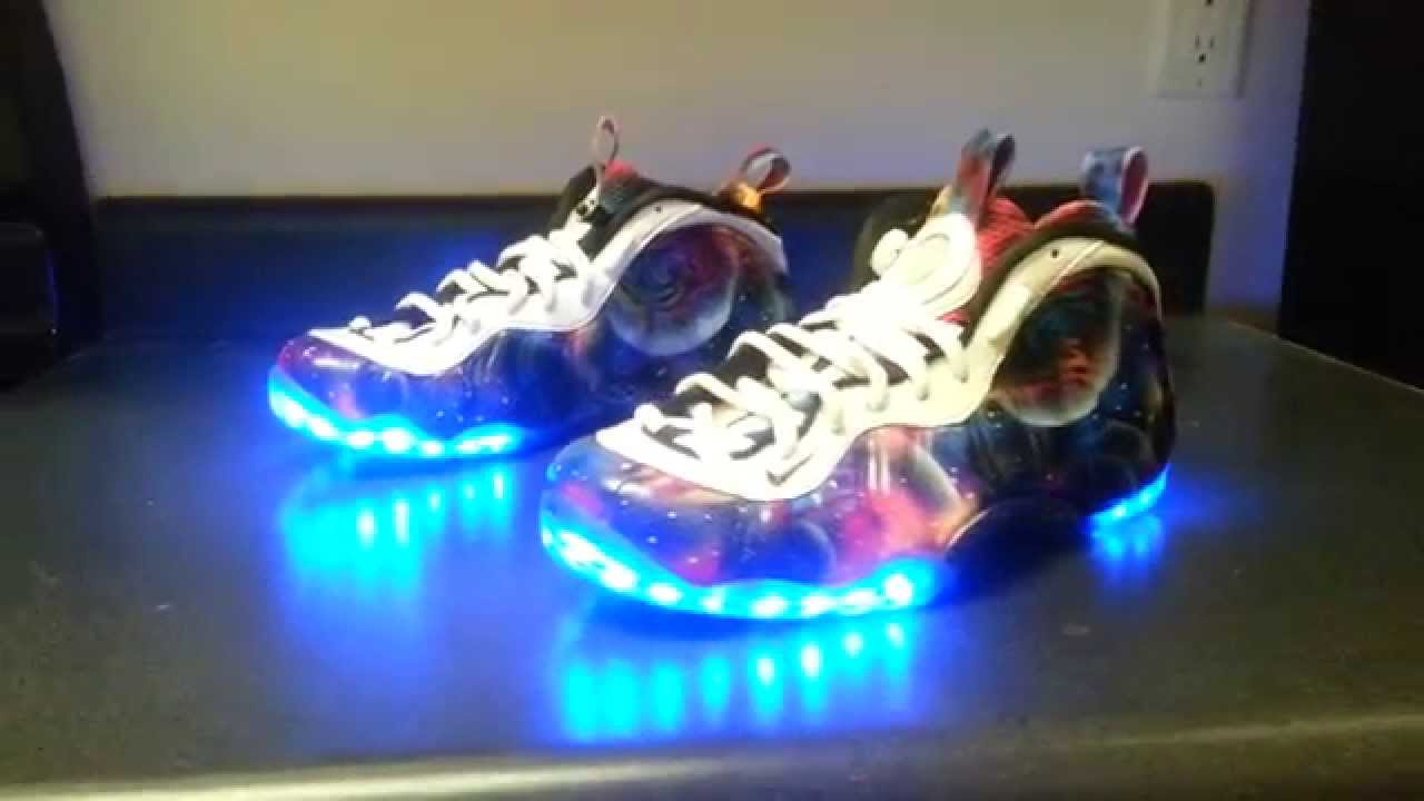 40d6e5ec70205 Lost Galaxy LED Nike Foamposites - YouTube