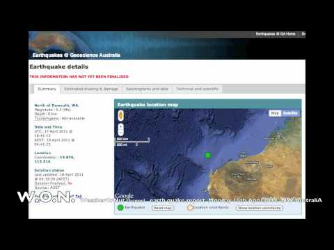 EARTH QUAKE NW AustraliA 5.3 mag 18th April 2011