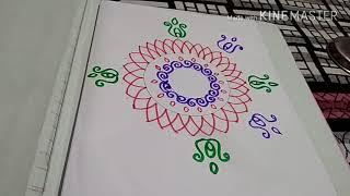 Creative friday *swastik and om *freehand rangoli design