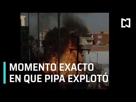 Momento de la explosión de pipa de gas, CDMX - Paralelo 23