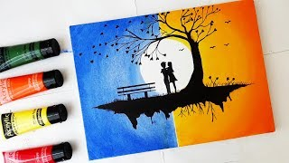 Çok Kolay !!! Akrilik Boya İle Resim Çizimi__Manzara Resmi/Art/ zhc /Sanat/Easy Drawing/How to Draw